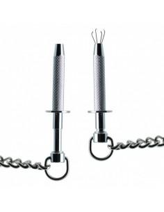 Rimba kinky nipple clamps with chain Silver1
