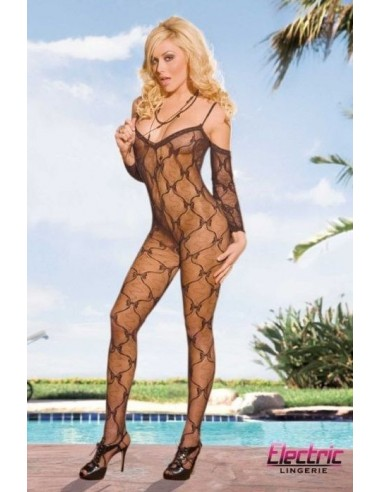 Electric lingerie Crotchless lace bodystocking