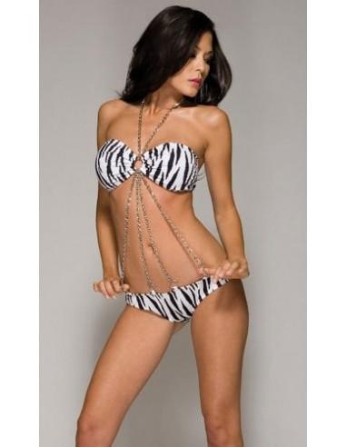 Forplay Zebra print silver chain