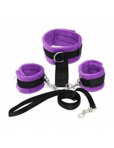 Rimba Soft bondage halsband met handboeien paars