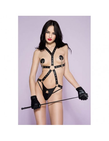 Musiclegs Leather look bodyharness with open crotch  M