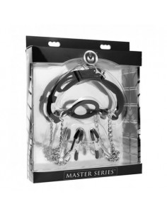 Master Series Mutiny silicone O-ring gag with nipple clamps