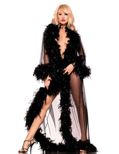 Be Wicked Lange kimono met veren zwart