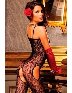 Baci Lingerie Flower lace peek a boo bodystocking