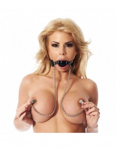 Rimba Gag with nipple clamps