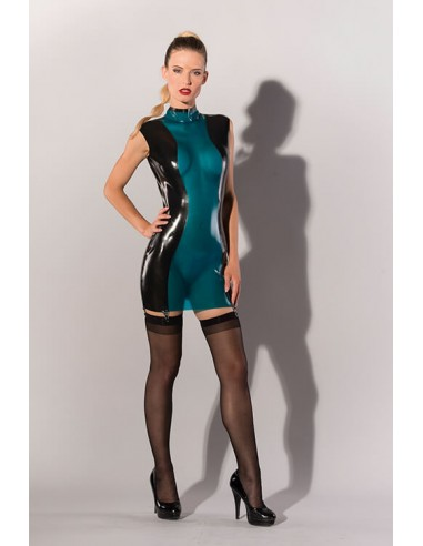 Guilty Pleasure Blue latex mini dress XL