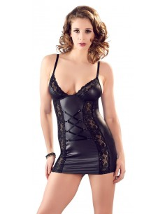 Cottelli Collection Wetlook night dress with lace black M