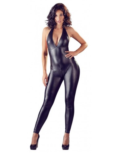 Cottelli Collection Crotchless sexy wetlook catsuit L