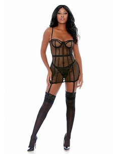 Forplay All the cage net chemise set black L