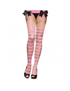 Leg Avenue Sheer and Opaque striped pink nude