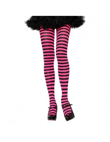 Leg Avenue Opaque striped tights black pink