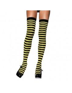 Leg Avenue Nylon striped thigh highs black yellow