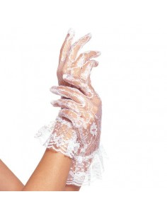 Leg Avenue Wrist lenght lace gloves with ruffle white